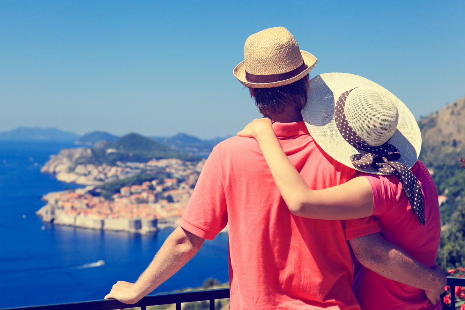 happy couple on summer vacaton in Europe