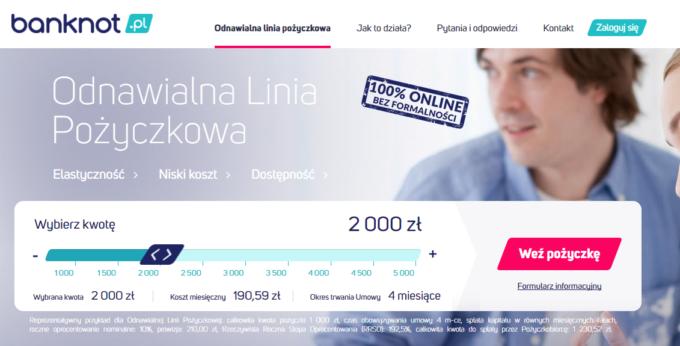 Odnawialna linia pożyczkowa Banknot.pl